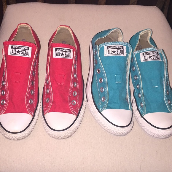 68a8fe6ce012 Converse Shoes - Chuck Taylor Converse 2 PAIR!! Red Teal all star